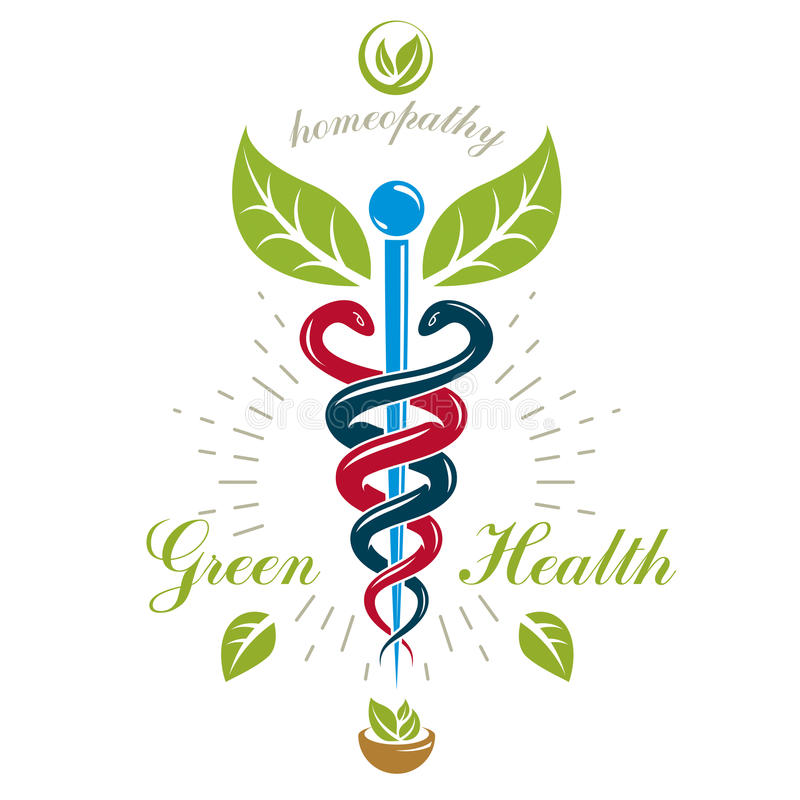 Pharmacy Caduceus icon, vector medical logo for use in holistic stock illustration