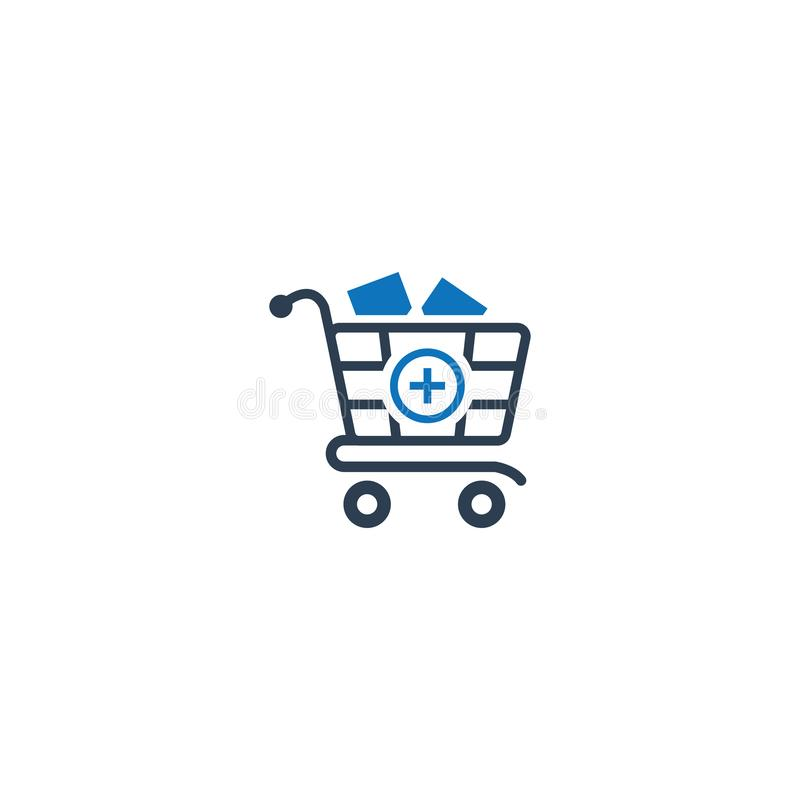 Pharmacy cart icon. Shopping basket with add icon. Medical basket with report icon. You can use it stock illustration