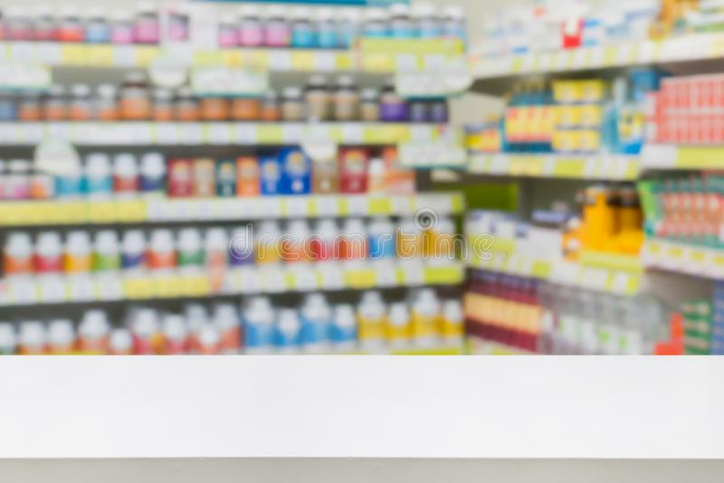 Pharmacy drugstore shop interior blur background. Pharmacy counter drugstore shop interior with medicines vitamins supplement and healthcare product for healthy royalty free stock images