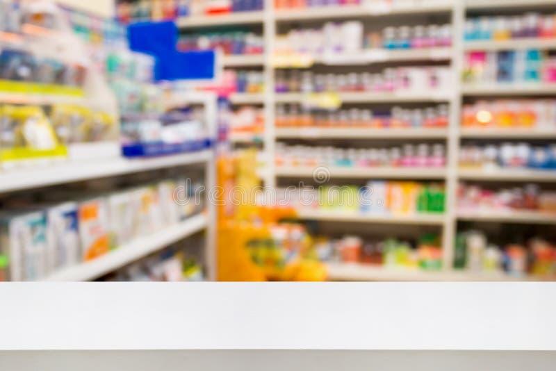 Pharmacy drug store interior blurred background with medicine. Pharmacy counter drug store interior blurred background with medicine on shelves, product display stock photo