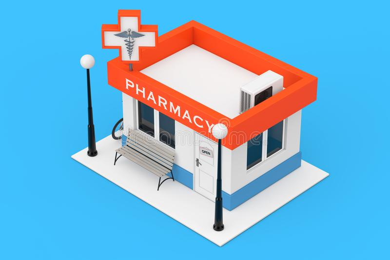 Pharmacy Drugstore Shop Building as Flat Icon. 3d Rendering stock illustration