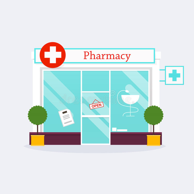 Pharmacy drugstore shop facade. royalty free illustration