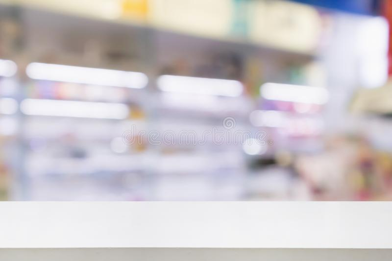 Pharmacy drugstore shop interior blur background. Pharmacy drugstore shop interior with medicines vitamins supplement and over the counter healthcare product for stock photography