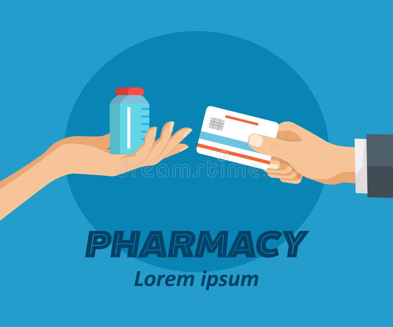 Pharmacy flat poster. Doctor holding bottle of drugs to patient. Credit card in hand in exchange for tablets. Pharmacy shop. Flat style design vector stock illustration