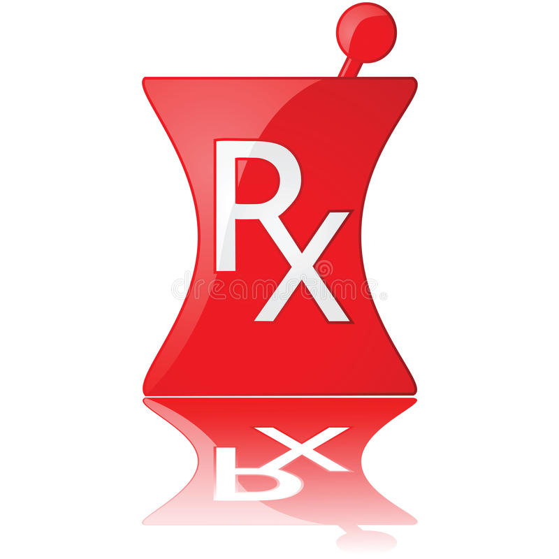 Pharmacy icon. Glossy illustration of a red pharmacy icon stock illustration