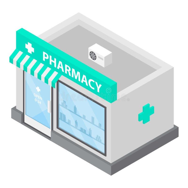 Pharmacy icon, isometric style stock illustration