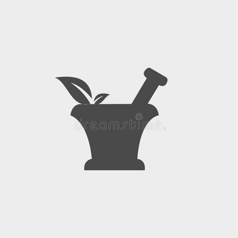 Pharmacy Icon with leaf. In Gray Background royalty free illustration