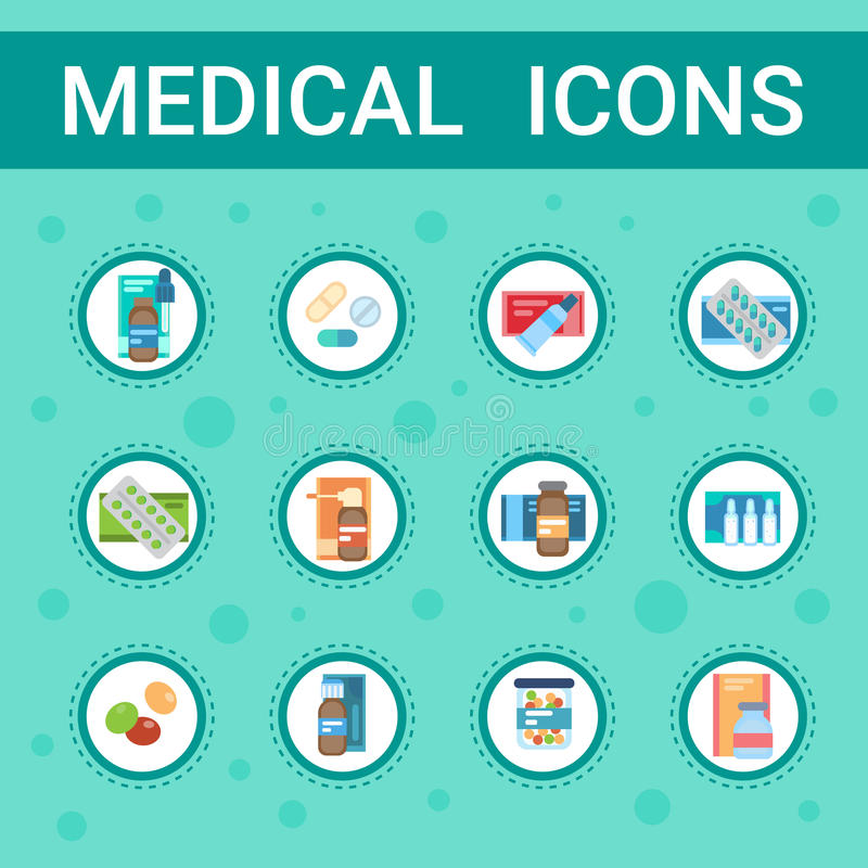 Pharmacy Icon Pills Set Medical Health Care Clinics Hospital Service Medicine Drugs Collection vector illustration
