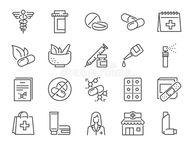 Pharmacy icon set. Included the icons as medical staff, drug, pills, medicine capsule, herbal medicines, pharmacist, drugstore an vector illustration