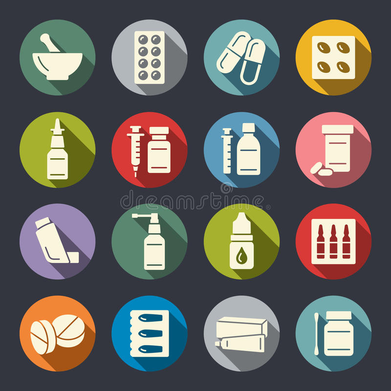 Pharmacy icons. Pharmacy items icon set vector illustration