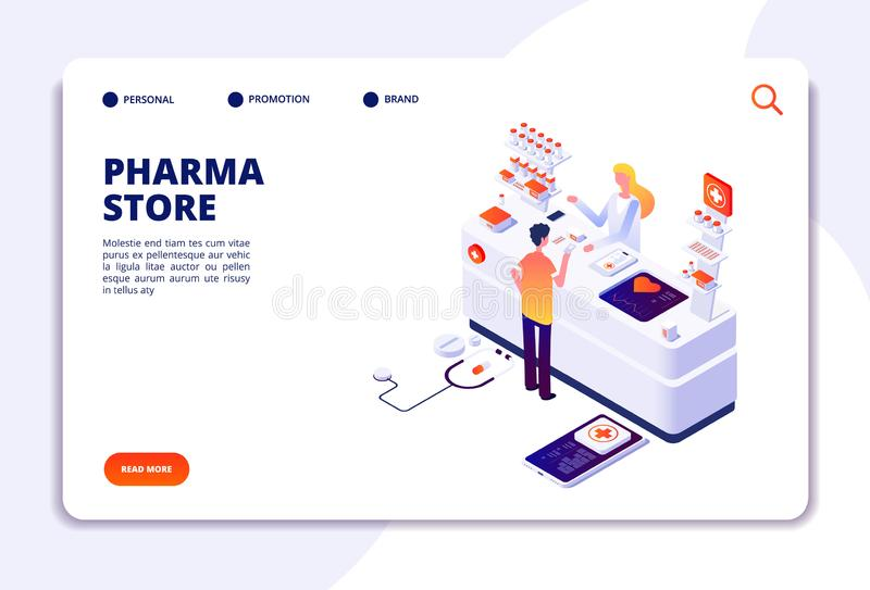 Pharmacy isometric concept. Doctor pharmacist and patient in drugstore. Medication and healthcare vector landing page. Illustration of medical pharmacist in vector illustration