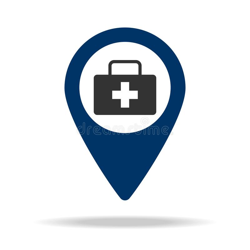 Pharmacy location in blue map pin icon. Element of map point for mobile concept and web apps. Icon for website design and developm. Ent, app development. Premium royalty free illustration