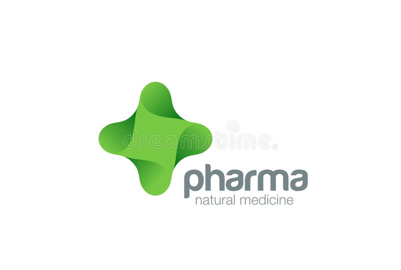 Pharmacy Logo eco green cross design vector template.Natural Organic medicine Logotype concept icon. Pharmacy Logo eco green cross design vector template royalty free illustration