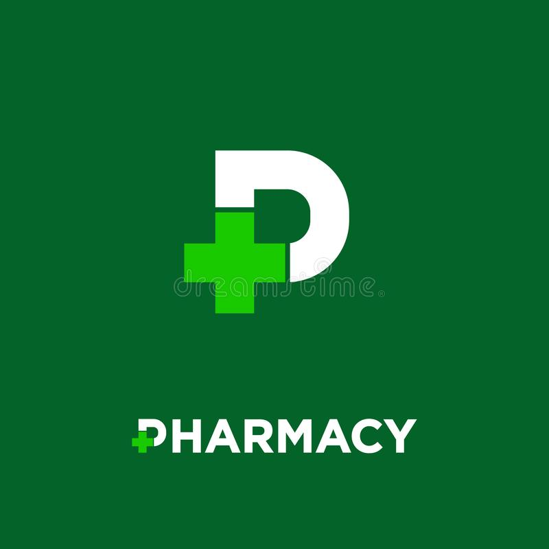 Pharmacy logo. Letter P with pharmacy cross icon, isolated on a dark-green background. royalty free illustration