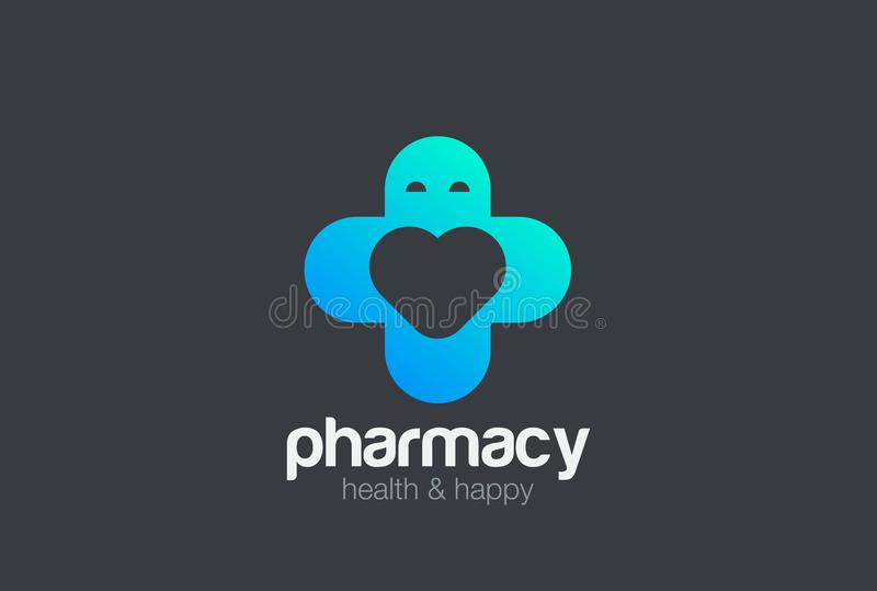 Pharmacy Medical Clinic Cross Logo design vector template as Man with Heart inside. Love medicine Cardiology Logotype concept icon stock illustration