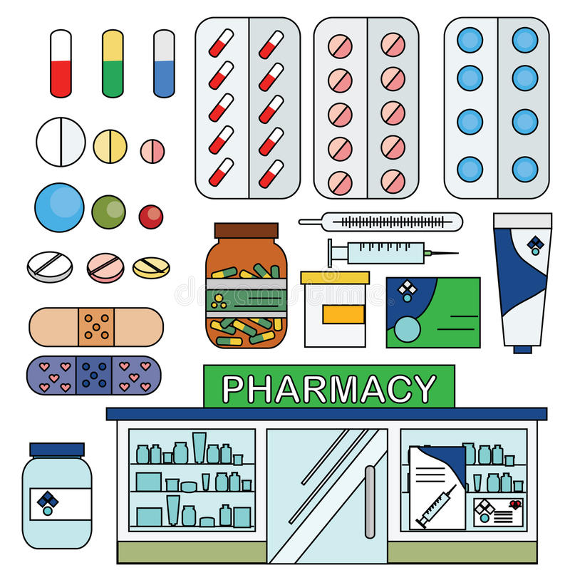 Pharmacy and medical icons, infographic elements set. Vector pharmacy drugstore set. Medical store, pills, drugs, and other medical objects, design and stock illustration