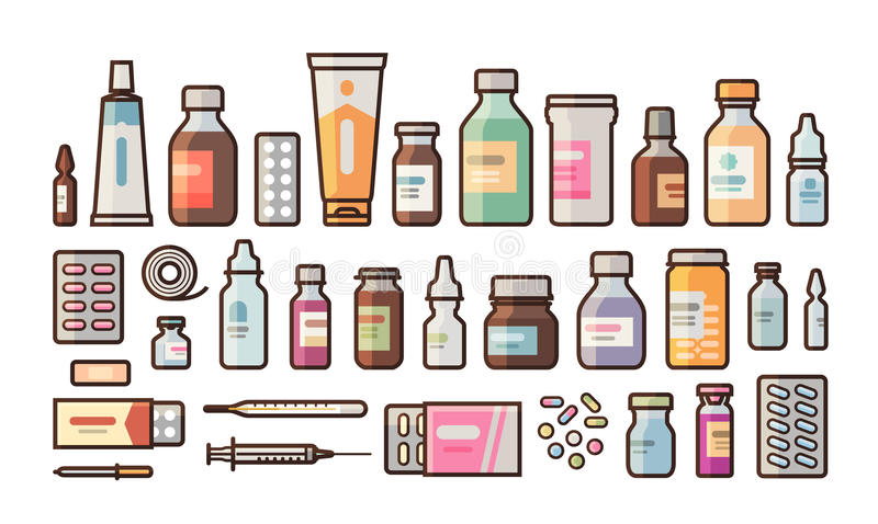 Pharmacy, medication, bottles, pills, capsules set icons. Drugstore, medicine, hospital concept. Vector illustration in. Flat style isolated on white background stock illustration