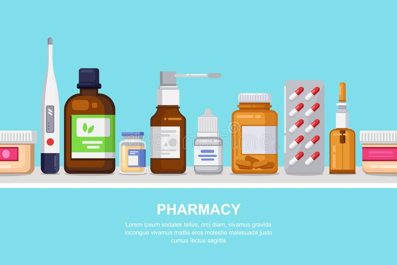 Pharmacy, medicine and healthcare horizontal seamless background. Shelf with pills, drugs, bottles. Pharmacy, medicine and healthcare horizontal seamless royalty free illustration