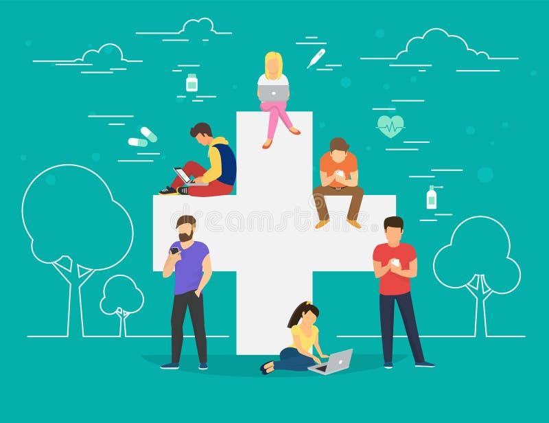Pharmacy mobile app concept illustration. Pharmacy mobile app concept. Flat illustration of young men and women near big cross symbol and using smart phones for royalty free illustration