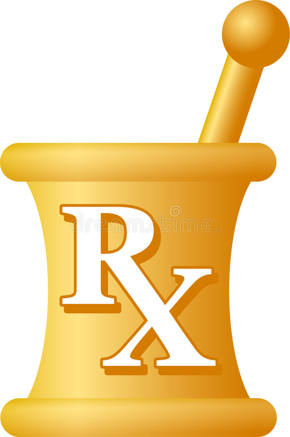 Pharmacy Mortar and Pestle/eps. Traditional symbol of pharmacy science, a mortar and pestle with the initials RX royalty free illustration