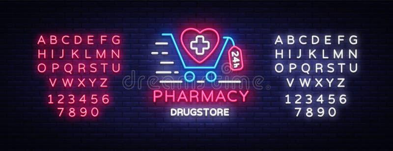 Pharmacy neon signboard vector. Medical neon glowing symbol, Light Banner, neon icon, design element. Vector vector illustration