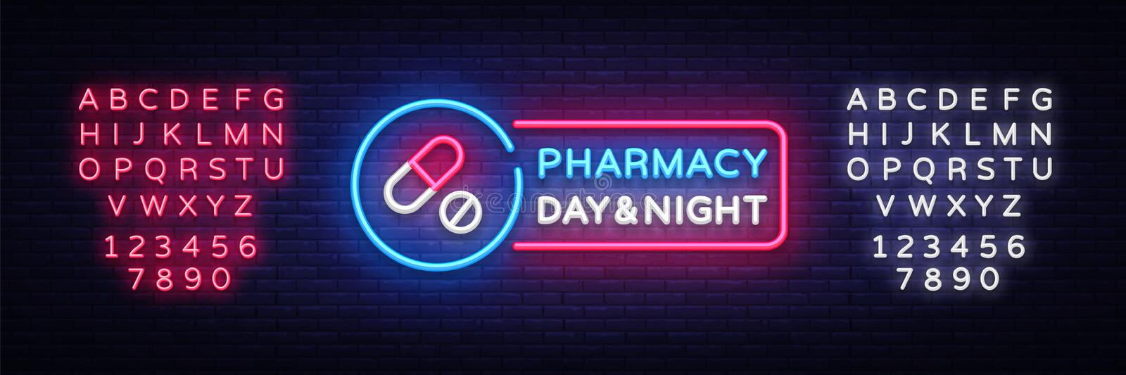 Pharmacy neon signboard vector. Medical neon glowing symbol, Light Banner, neon icon, design element. Vector royalty free illustration