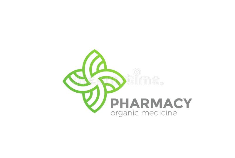 Pharmacy Organic Natural Medicine Cross Logo vecto. Pharmacy Organic Natural Medicine Cross Logo design vector template Linear style vector illustration