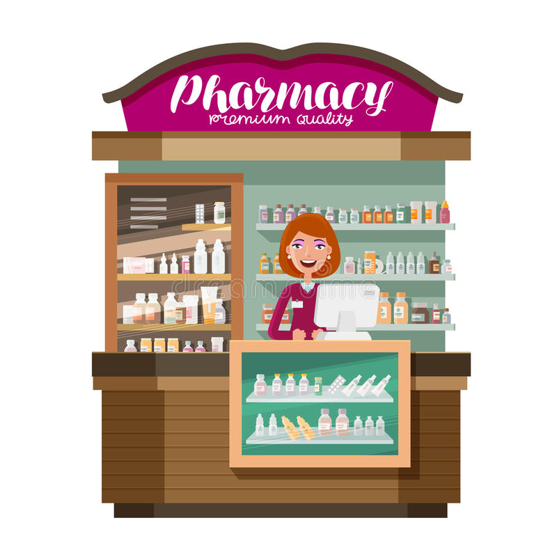 Pharmacy, pharmaceutics, drugstore. Medicine, drug, medication concept. Cartoon vector illustration stock illustration