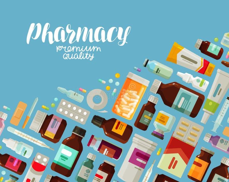 Pharmacy, pharmacology banner. Medicine, bottles and pills concept. Vector illustration. Pharmacy, pharmacology banner. Medicine, bottles and pills concept stock illustration