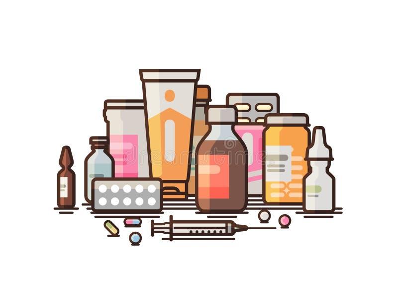 Pharmacy, pharmacology, drugstore, medical supplies banner. Modern medicine, hospital, healthcare concept. Vector. Pharmacy, pharmacology, drugstore banner vector illustration