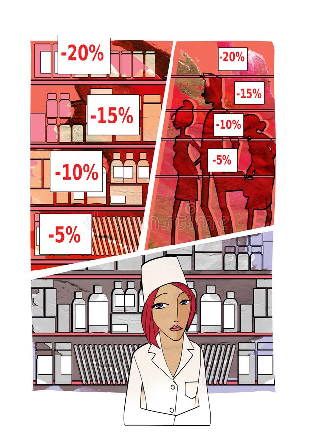 Pharmacy and Pharmacy Discounts. Sad young woman in the uniform of the pharmacist behind the counter against the backdrop of unche stock illustration