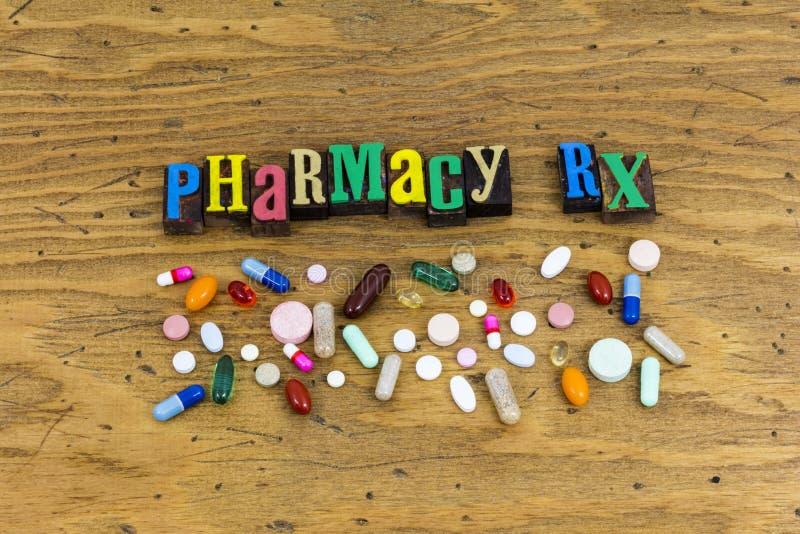 Pharmacy rx drugs pills sign stock photos