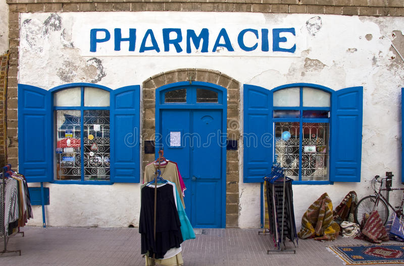Pharmacy shop. In Essaouira, Morocco royalty free stock photo