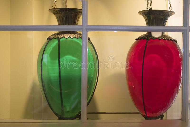 Pharmacy show globes. Brightly colored show globes were a symbol of the pharmacy trade royalty free stock images
