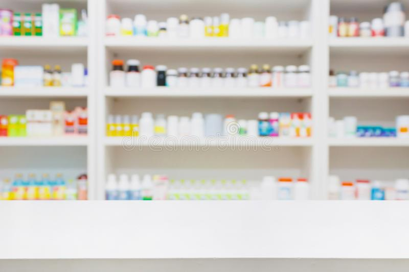 Pharmacy store background with drugstore counter royalty free stock photography
