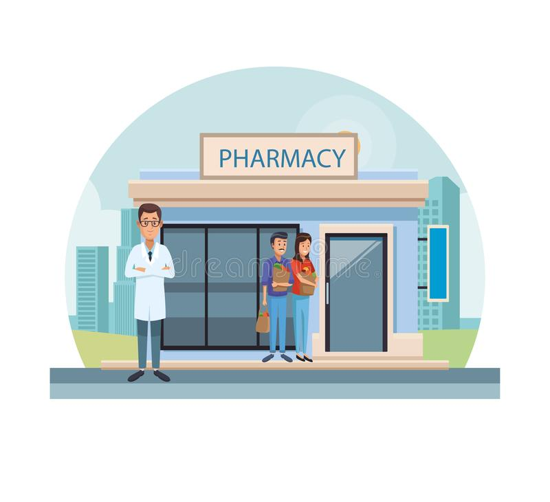 Pharmacy store at city. Pharmacy store and workers at city vector illustration graphic design royalty free illustration