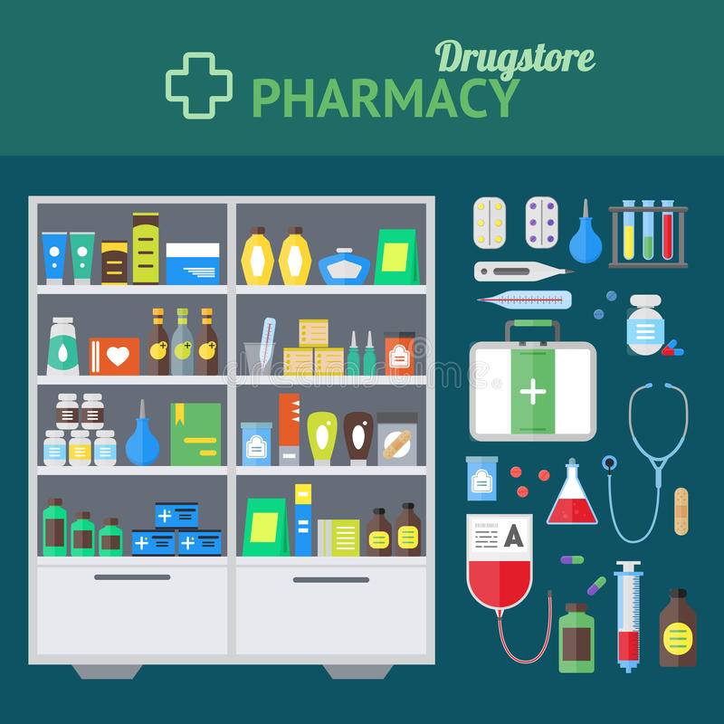 Pharmacy Store and Element Set Concept. Vector royalty free illustration