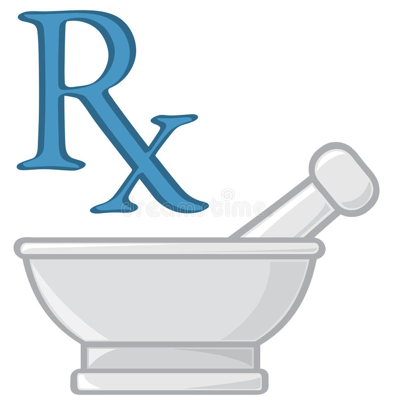 Pharmacy Symbols. Two symbols for the profession of pharmacy stock illustration