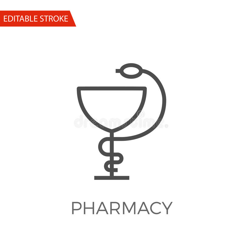 Pharmacy Vector Icon. Pharmacy Thin Line Vector Icon. Flat Icon Isolated on the White Background. Editable Stroke EPS file. Vector illustration stock illustration