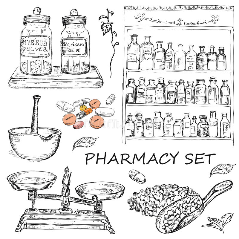 Pharmacy. Vector illustration of engraving pharmacy hands drawing stock illustration