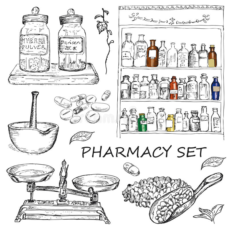 Pharmacy. Vector illustration of engraving pharmacy hands drawing royalty free illustration