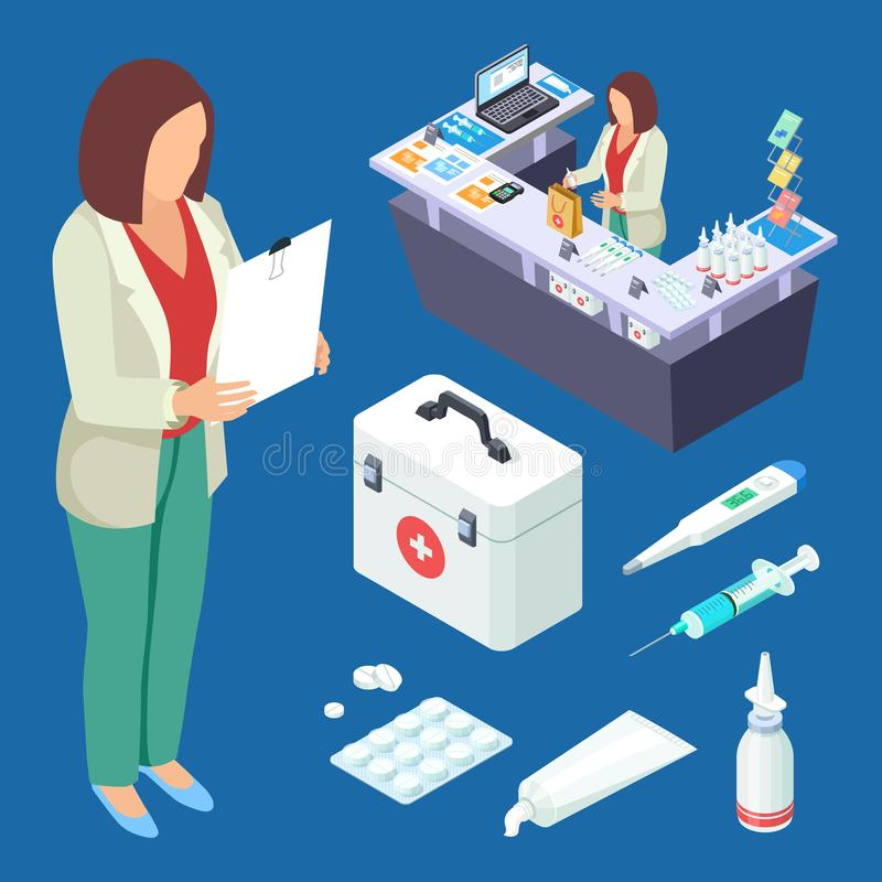 Pharmacy vector isometric set. Pharmacist at work, drugs and first aid kid illustration stock illustration