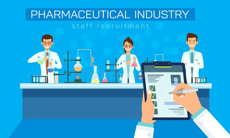 Pharmaindustrie-Personal-Einstellungs-Vektor vektor abbildung