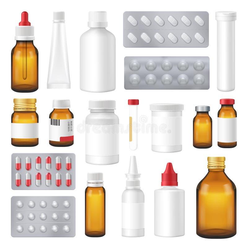 Pharmazeutische Flaschen-Satz-Pillen-realistischer Satz lizenzfreie abbildung