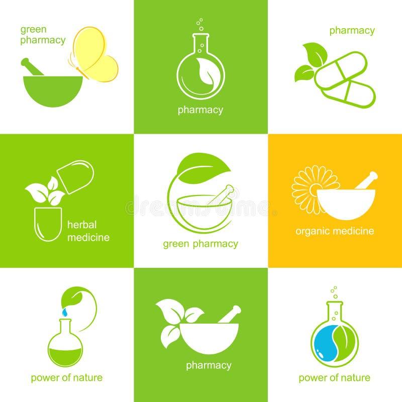 Pharmazeutische Ikonen lizenzfreie abbildung