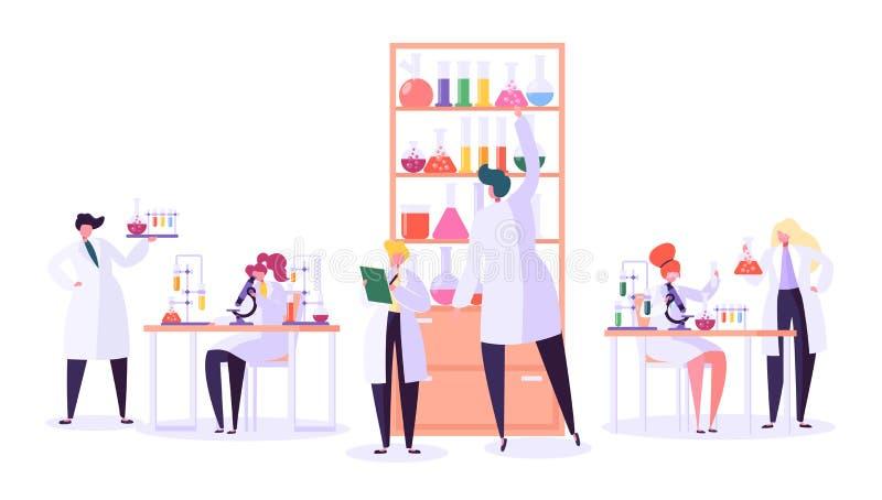 Pharmazeutisches Laborforschungs-Konzept Wissenschaftler-Charaktere, die im Chemie-Labor mit medizinischer Ausrüstung arbeiten stock abbildung