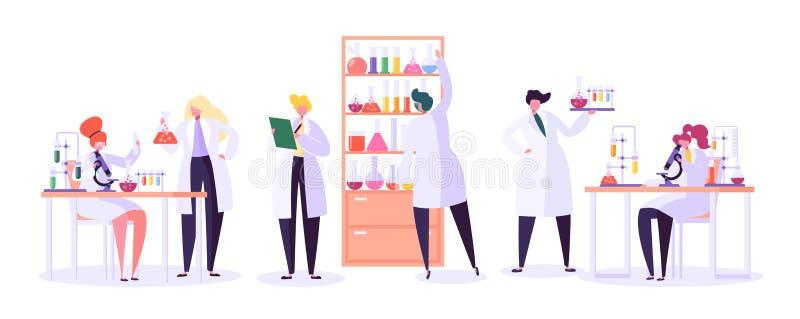 Pharmazeutisches Laborforschungs-Konzept Wissenschaftler-Charaktere, die im Chemie-Labor mit medizinischer Ausrüstung arbeiten lizenzfreie abbildung
