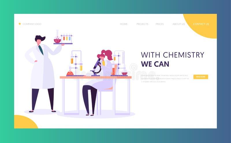 Pharmazeutisches Laborforschungs-Konzept Wissenschaftler-Charaktere, die im Chemie-Labor mit Mikroskop der medizinischen Ausrüstu lizenzfreie abbildung