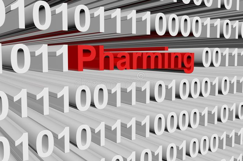 Pharming. In the form of binary code, 3D illustration vector illustration
