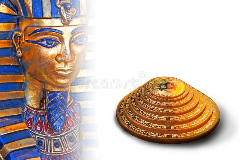 Pharoah da pirâmide do bitcoin de Egito fotos de stock royalty free